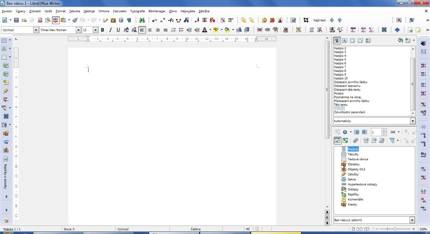 Upravený vzhled LibreOffice ve Windows 7
