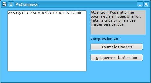 V okně makra vybíráme, zda se komprese použije na vybraný obrázek, nebo na všechny obrázky