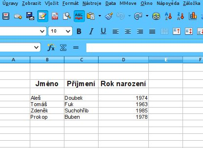 Výchozí tabulka, kterou si přejeme rozdělit na jednotlivé části
