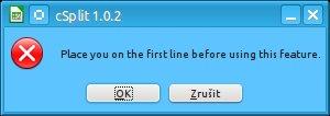 Před použitím makra je třeba první řádek tabulky přesunout na první řádek listu