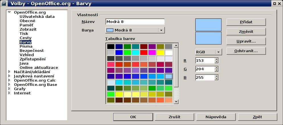 Nastavení vlastních barev v OpenOffice.org