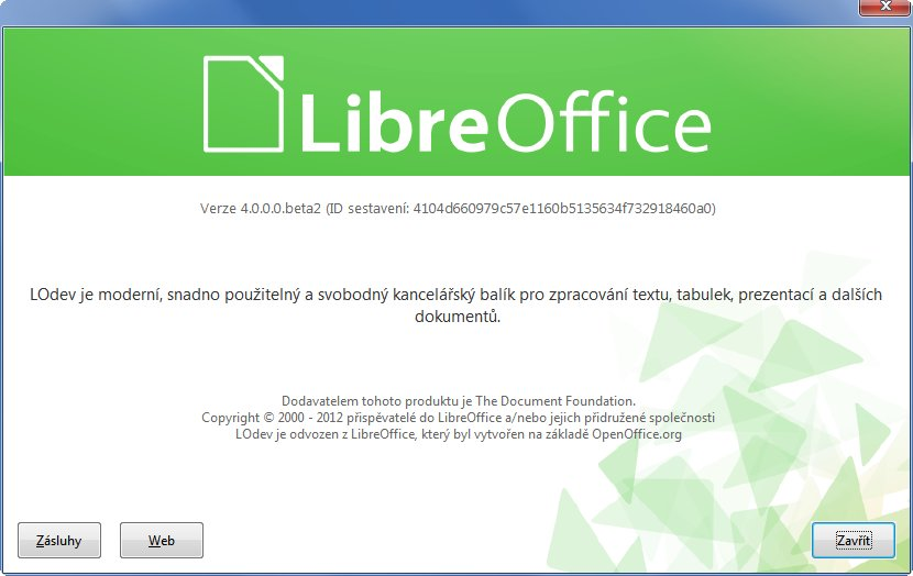Okno O aplikaci nejnovější vývojové verze LibreOffice