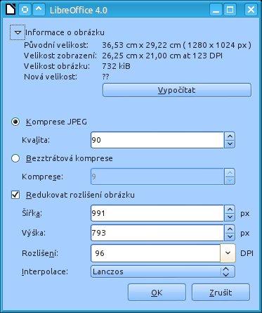 V nové verzi LibreOffice je možné vložené obrázky zkomprimovat přímo v kresbě
