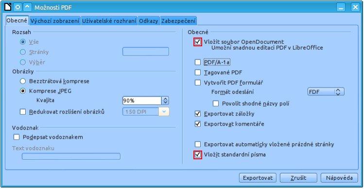 Nejdůležitější volby při ukládání hybridního PDF souboru