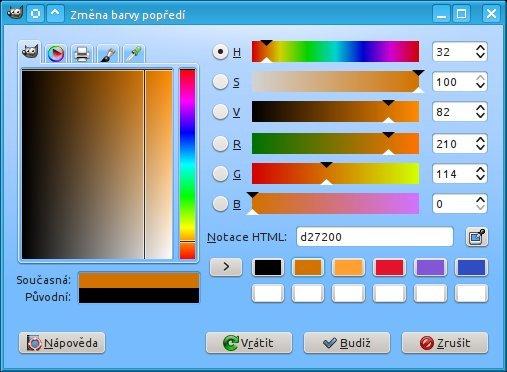 Místo pro míchání barev v Gimpu