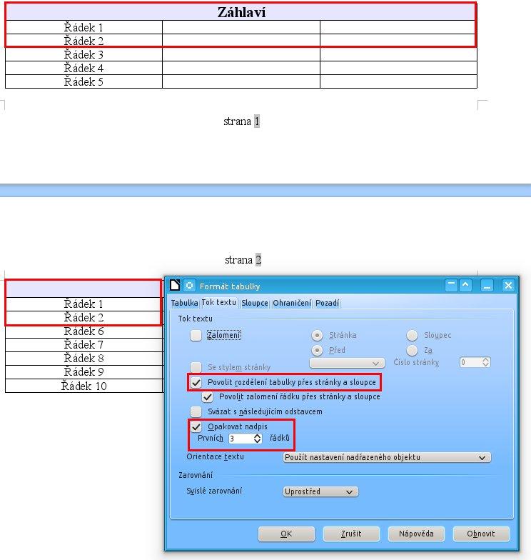 Povolte opakování záhlaví a určete počet řádků, které se mají opakovat