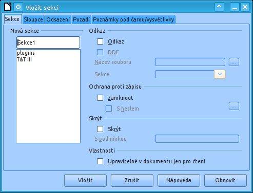 Správa sekcí v okně Vložit sekci/Upravit sekce