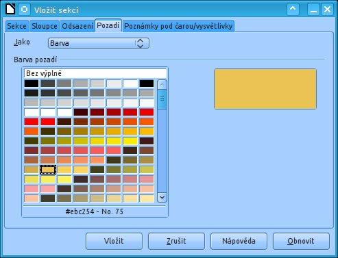 Podbarvení sekcí obrázkem nebo barvou na kartě Pozadí