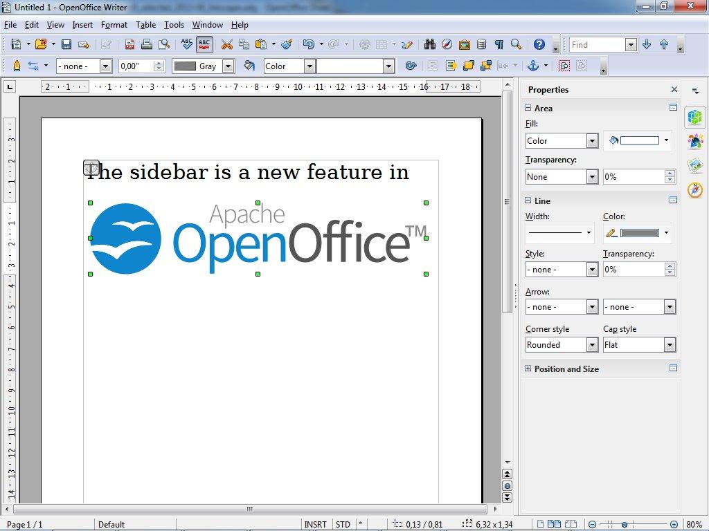 Nový boční panel v Apache OpenOffice 4.0