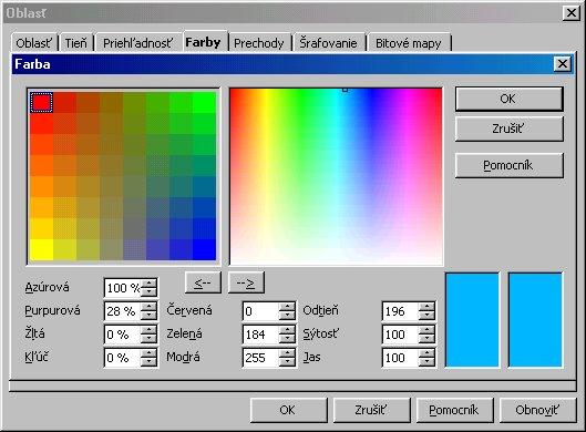 Výber farby z palety farieb