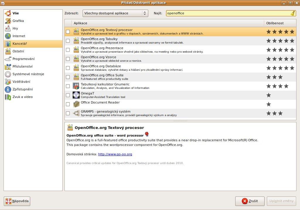 Ve zdrojích Ubuntu 8.04 je Openoffice.org 2.4
