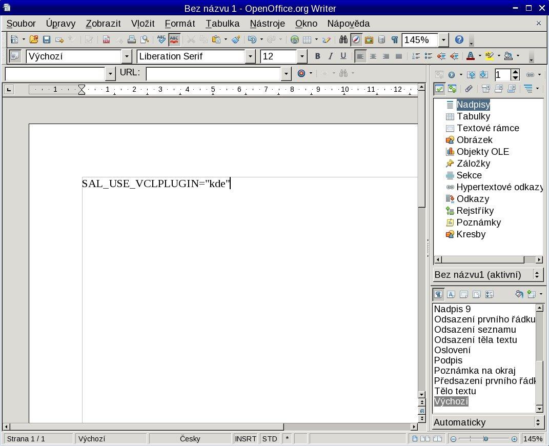 KDE vzhled Writeru