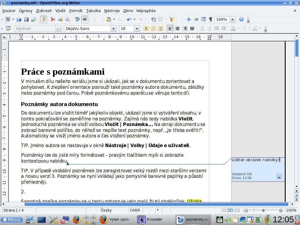 Dokument a vložená poznámka