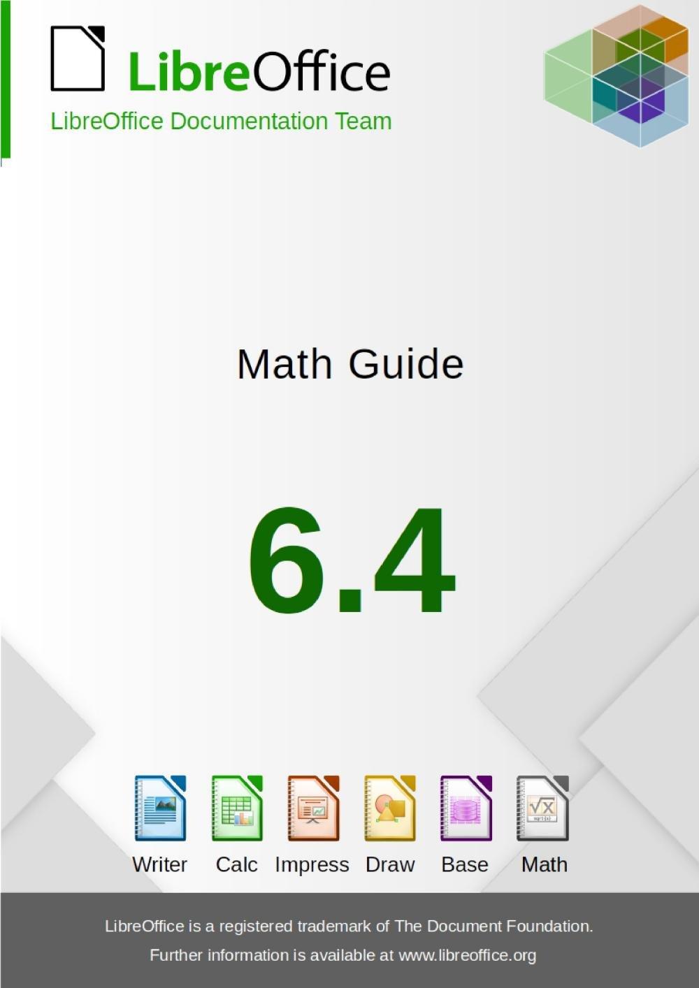 Obálka příručky LibreOffice Math 6.4