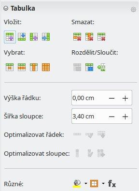 Rozšířená paleta funkcí pro editaci tabulek v postranním panelu