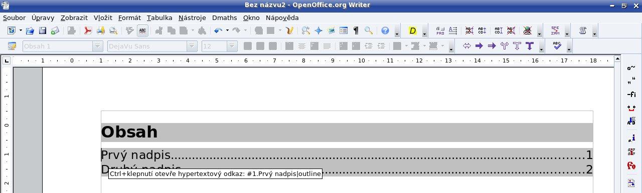 Hypertextový obsah v prostredí OpenOffice.org