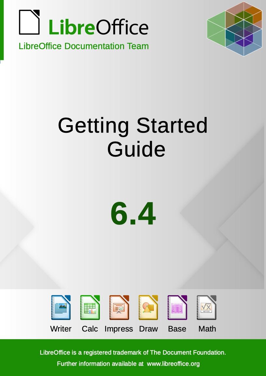 Úvodní strana příručky k LibreOffice 6.4