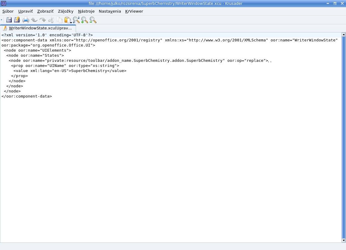 Vytvorenie súboru WriterWindowState.xcu