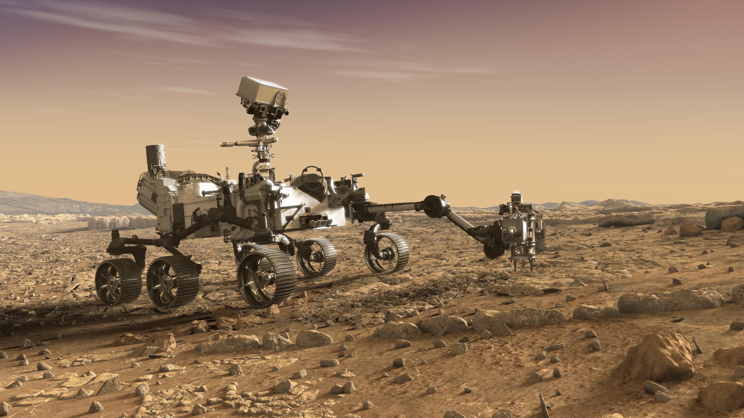 Umělecká představa roveru Perseverance na Marsu (nasa.gov)