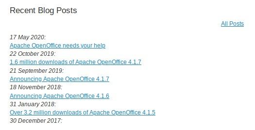 Aktivita na blogu OpenOffice
