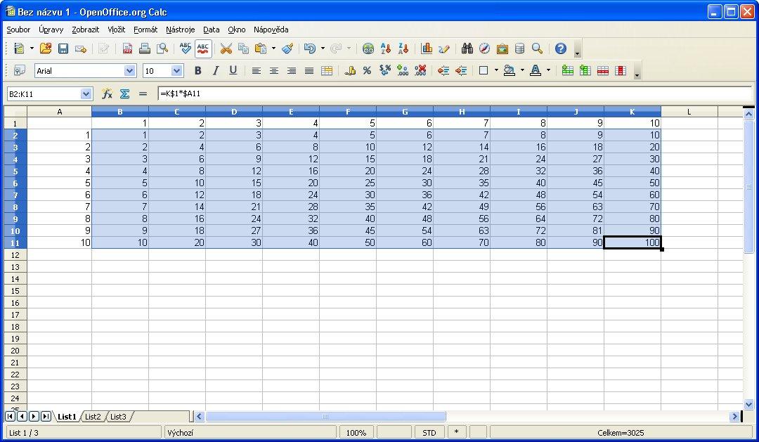Príklad vytvorenia tabuľky násobenia po zadaní oblasti