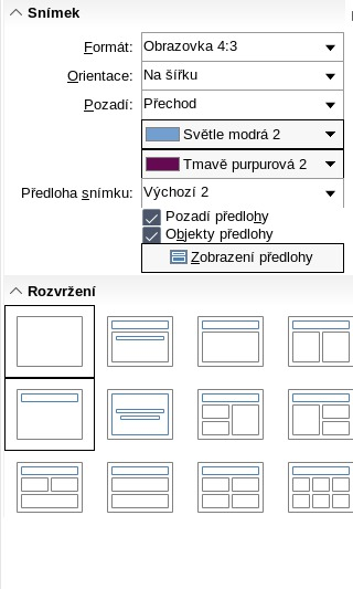 Možnost gradientní výplně snímků