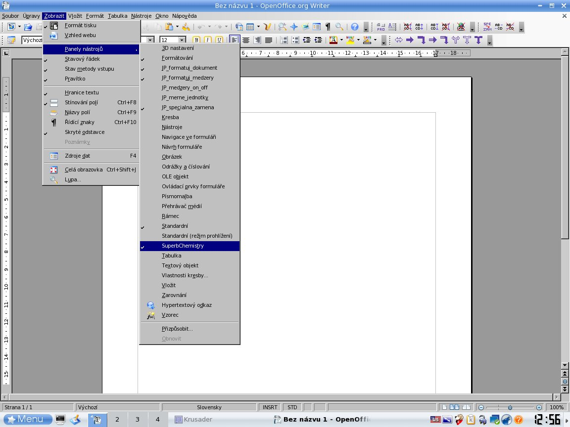 Nová položka v menu panelov nástrojov