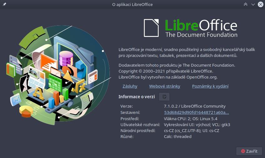 Okno O aplikace LibreOffice