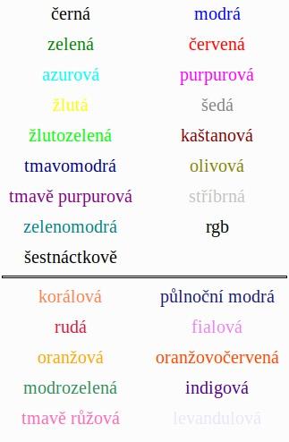 Příklady možných barev v Math