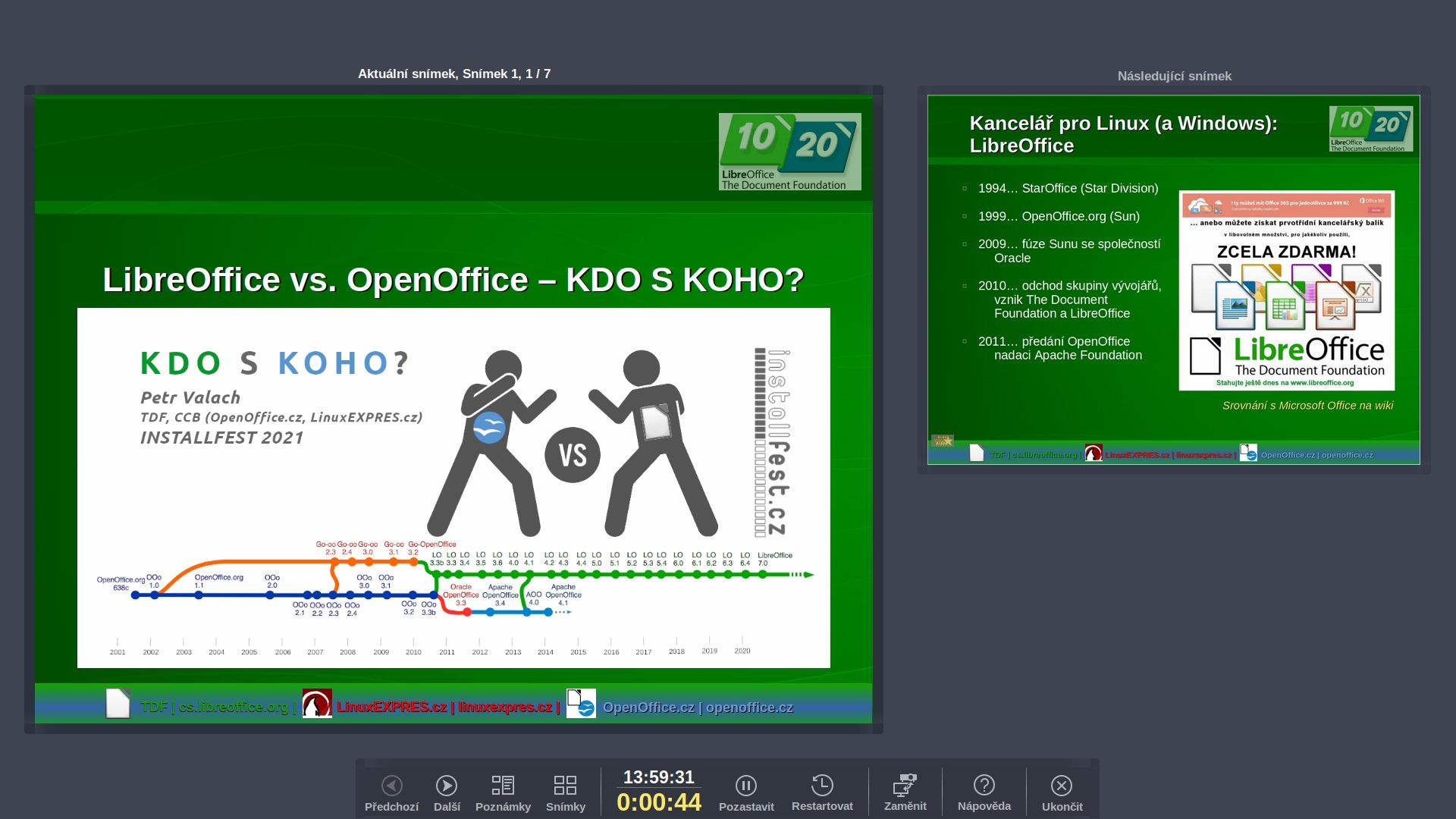 Obrazovka přednášejícího, doplněná o tři tlačítka