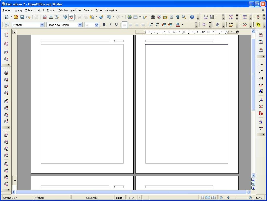 Náhľad na automaticky očíslované listy (dvojstrany)