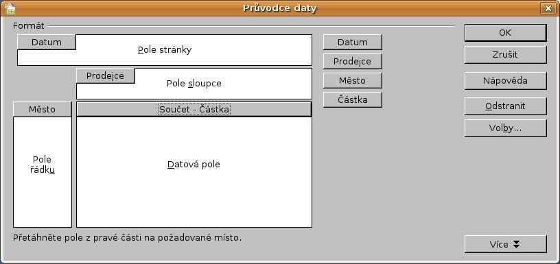 Okno Průvodce daty s vloženými názvy sloupců v jednotlivých polích
