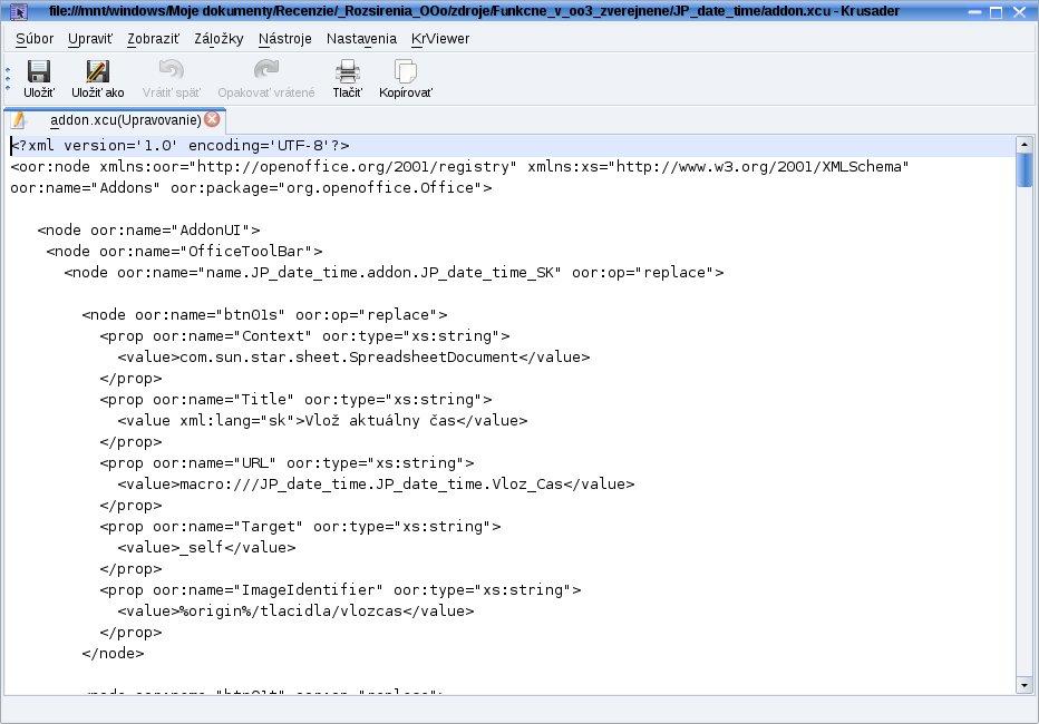 Vlastná definícia panelov nástrojov v addon.xcu