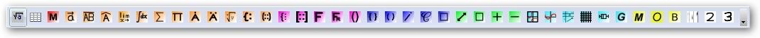 Tlačítková lišta pluginu Dmaths