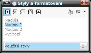 Kategorie Použité styly