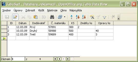Zadanie vstupných údajov do tabuľky