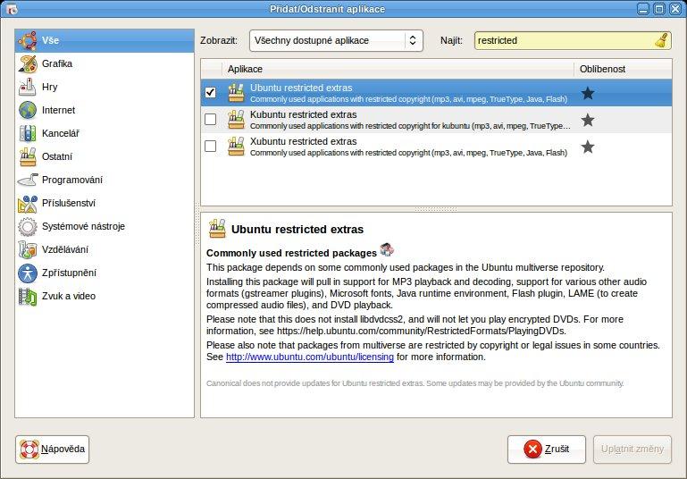Správa softwaru se provádí prostřednictvím jednoho programu