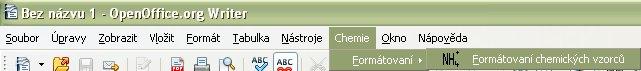 """Vlastné menu """"Chemie"""" s podmenu """"Formátovaní"""""""