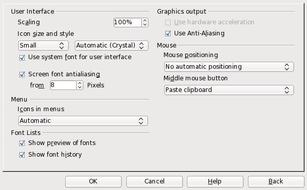 Volba ovlivňující zobrazování ikon v menu