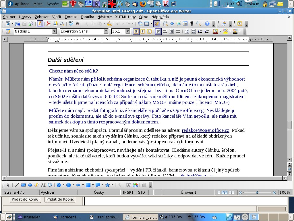ÚMČ Brno-Slatina a Fedora Linux s OpenOffice.org