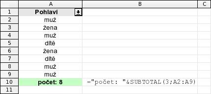 Počet položek pomocí SUBTOTAL - bez filtru