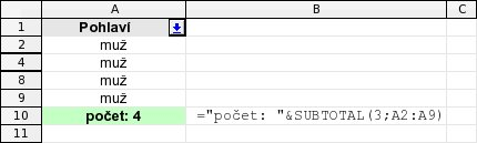 """Počet položek pomocí SUBTOTAL - filtrovány položky """"muž"""""""