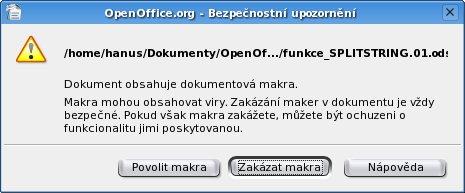 Povolení maker při otevírání souboru
