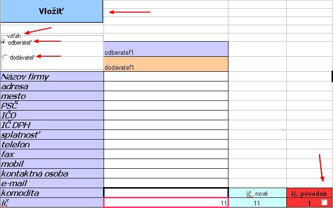 Ovládacie prvky v liste vklad