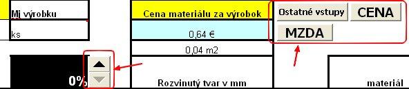 Ovládacie prvky v liste materiál.