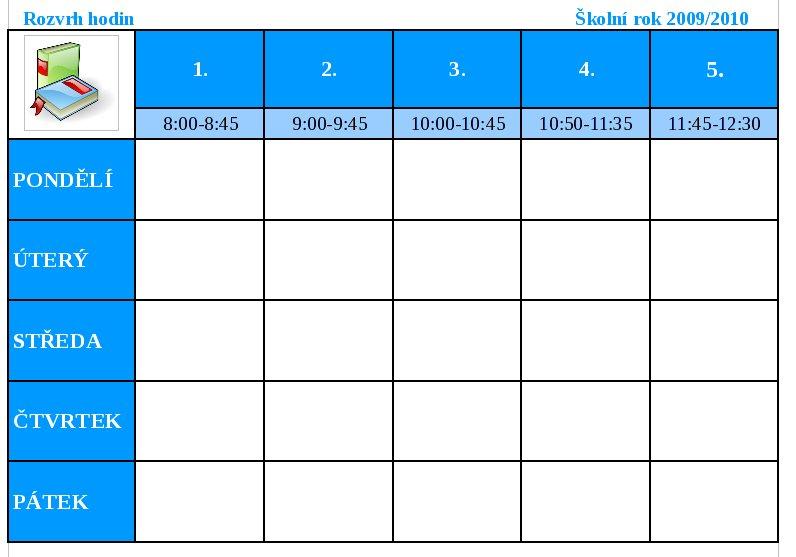 Rozvrh hodin pro nižší stupeň základní školy
