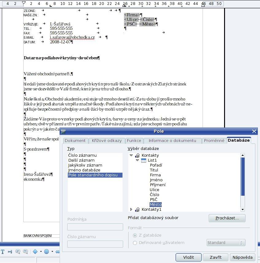 Vytvoření dopisu s využitím karty Databáze