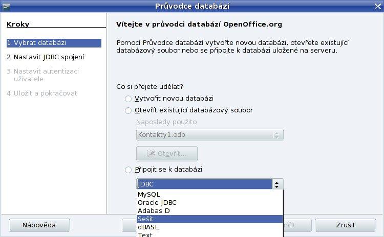 Vytvoření Databáze ze sešitu Kontakt