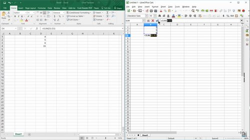 LibreOffice 5.2 vs Microsoft Office 2016