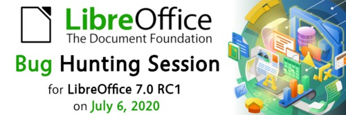 Logo akce Bug Hunting Session LibreOffice 7.0 RC1